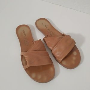 Anne Klein Kreuzsandale Leather Slides Flat Sandal